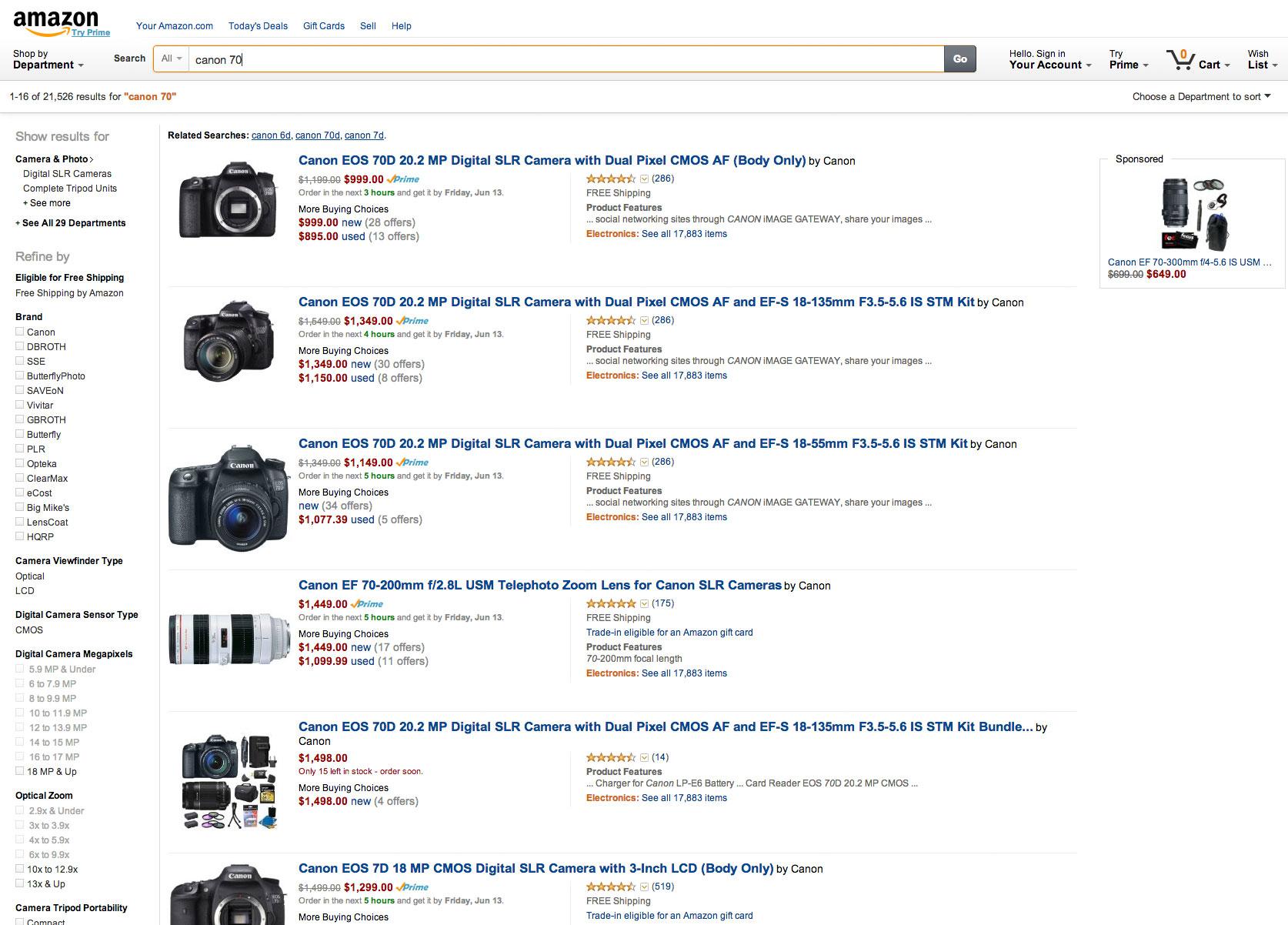 Amazon, error de búsqueda