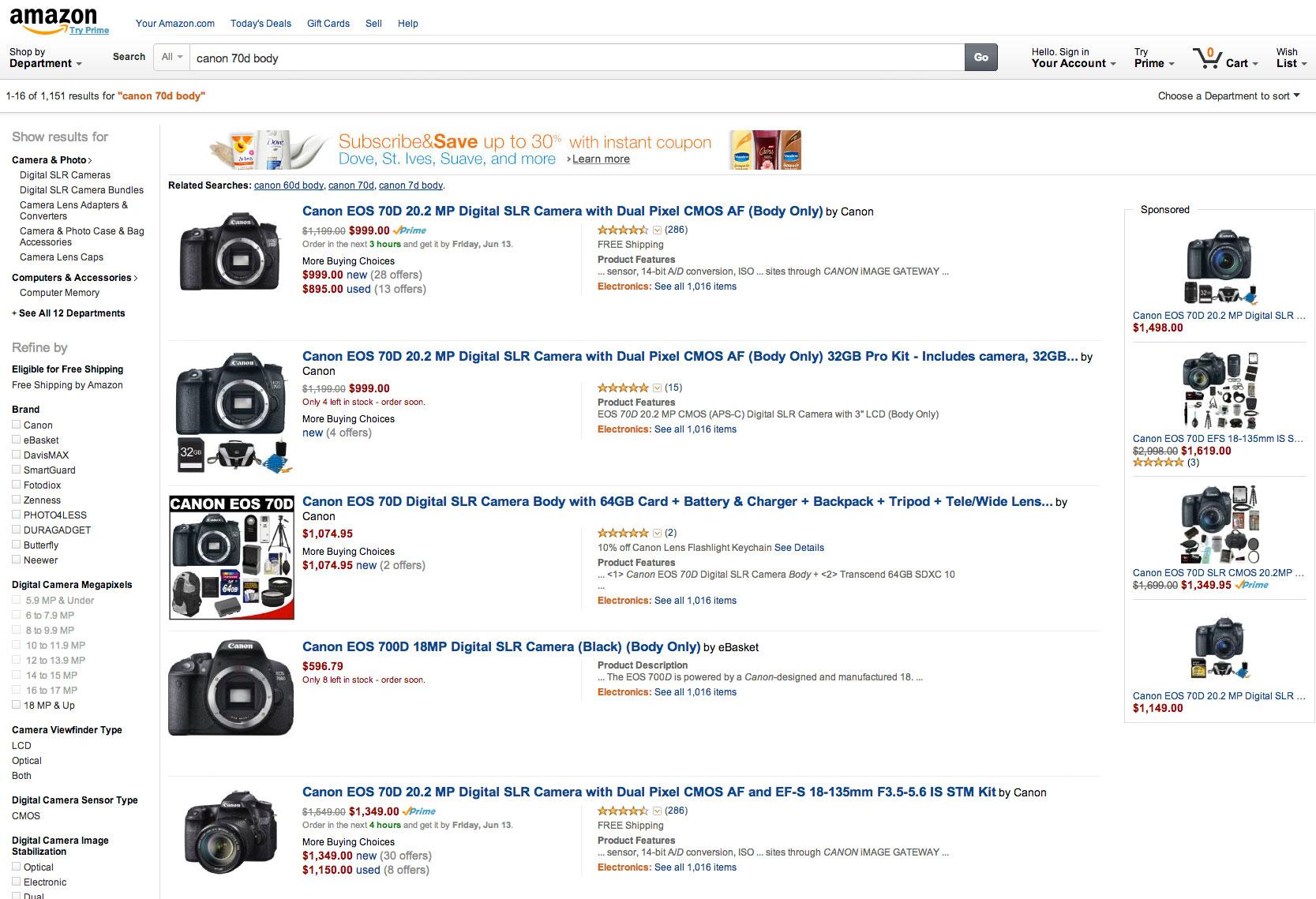 Amazon, resultados de búsqueda