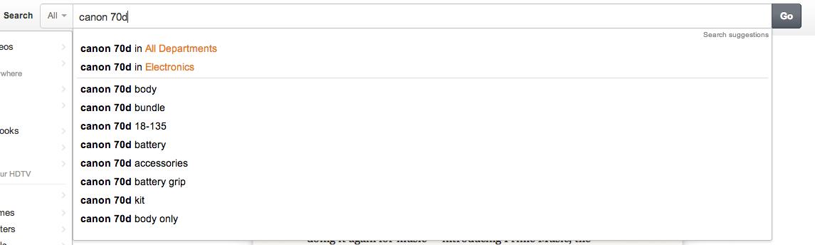 Amazon, caja de búsqueda