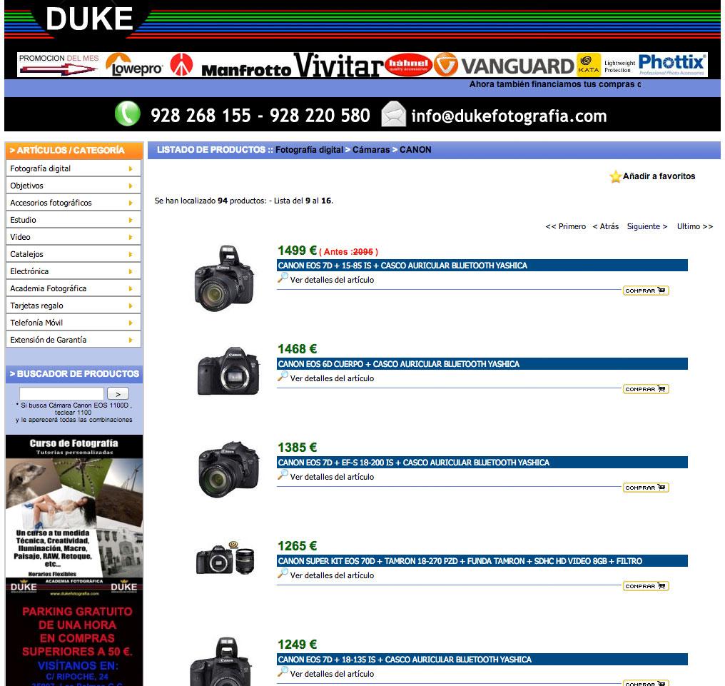 Duke Fotografía, listado