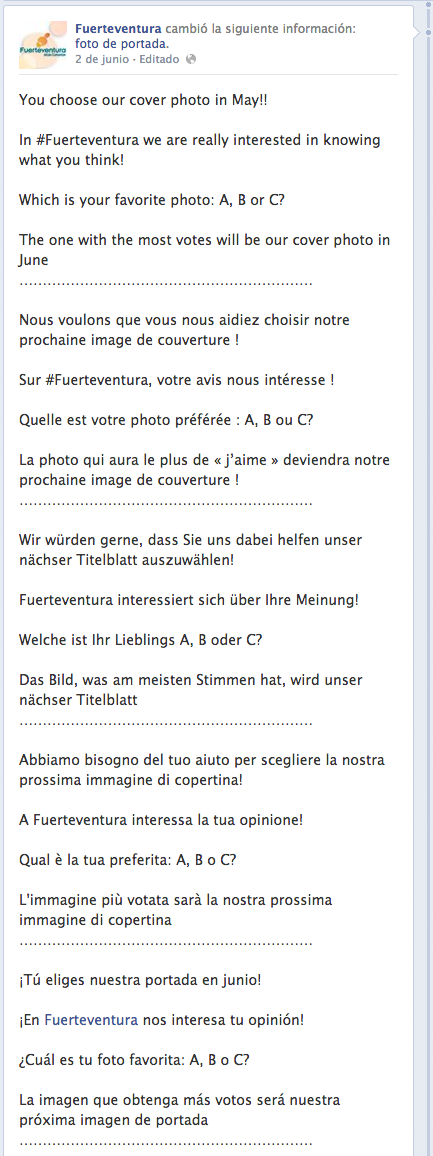 Múltiples idiomas en Facebook